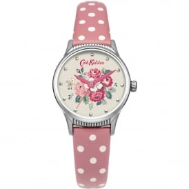 CKL012PS Forest Bunch Silver & Pink Polka Dot Leather Ladies Watch