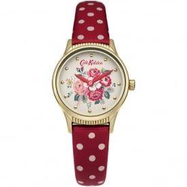 CKL012RG Forest Bunch Gold & Red Polka Dot Leather Ladies Watch