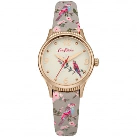 CKL013ERG British Birds Rose Gold & Grey Floral Leather Ladies Watch