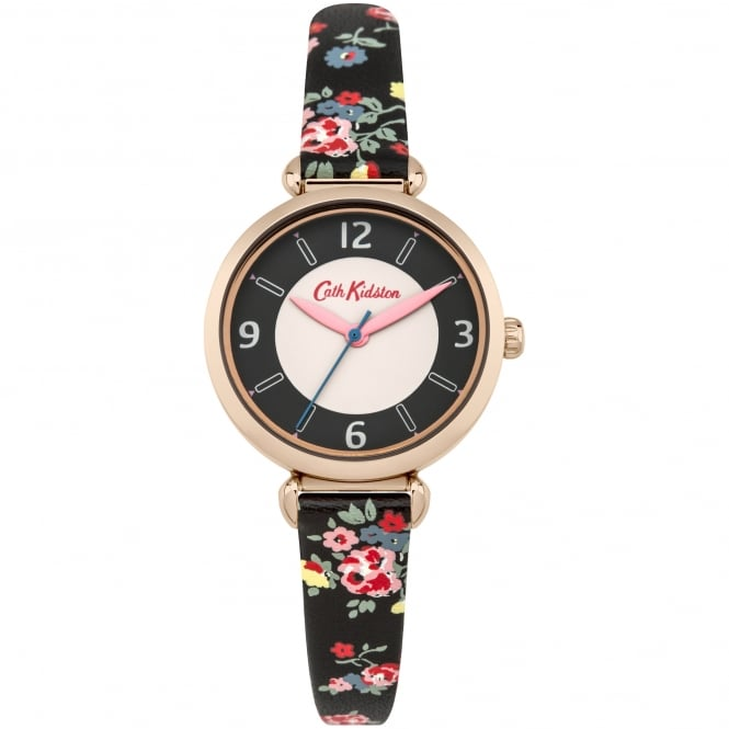 Cath Kidston CKL020BRG Kew Sprig Rose Gold & Black Leather Floral Print Ladies Watch
