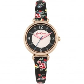CKL020BRG Kew Sprig Rose Gold & Black Leather Floral Print Ladies Watch
