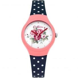 CKL024PU Spray Flowers Pink & Navy Polka Dot Silicone Ladies Watch