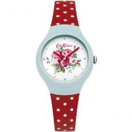 CKL024UR Spray Flowers Blue & Red Polka Dot Silicone Ladies Watch
