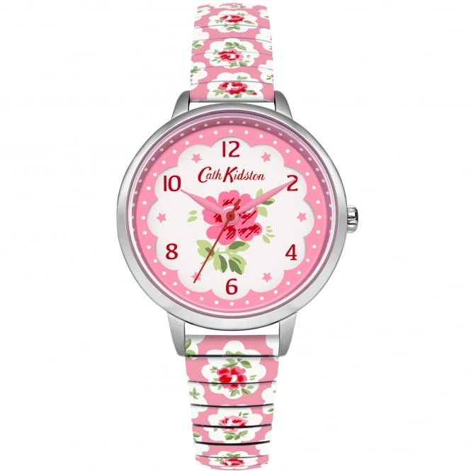 Cath Kidston CKL030WP Provenance Silver & Pink Floral Expander Ladies Watch