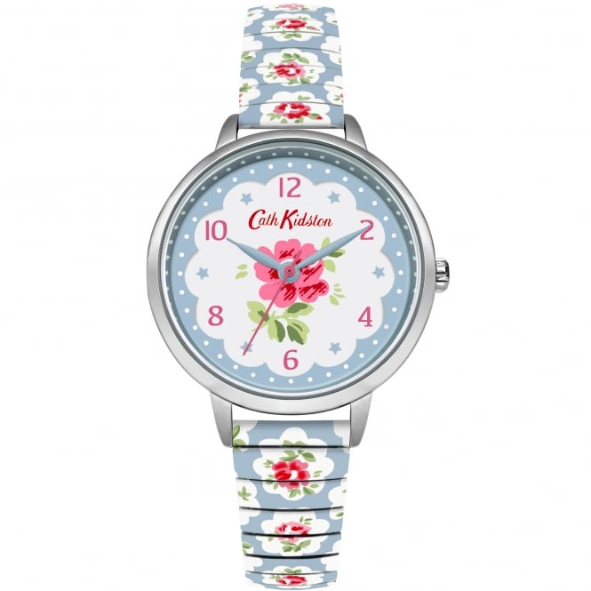 Cath Kidston CKL030WU Provenance Silver & Blue Floral Expander Ladies Watch