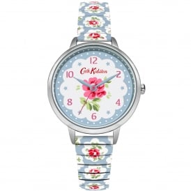 CKL030WU Provenance Silver & Blue Floral Expander Ladies Watch
