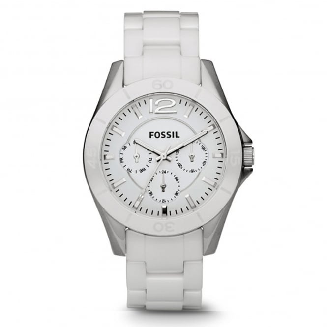 Fossil CE1002 Riley White Ceramic Multifunction Ladies Watch
