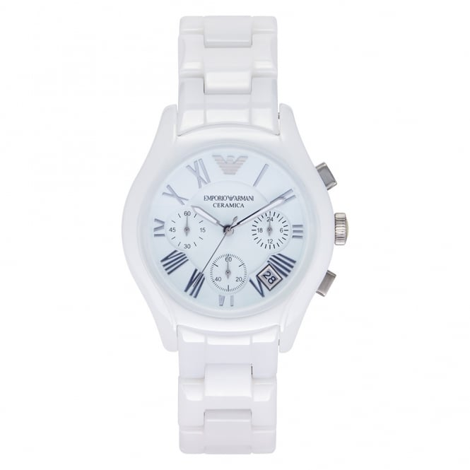 Armani Watches Ceramic White Womens Chronograph Watch AR1404