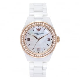 Ceramic White Womens Chronograph Watch AR1472