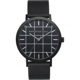 Christian Paul Watches GR-01 The Strand Grid Black Leather Watch