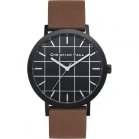 Christian Paul Watches GR-02 Bridport Grid Black & Brown Leather Watch