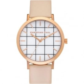 Christian Paul Watches GR-08 Bondi Grid Rose Gold & Peach Leather Watch