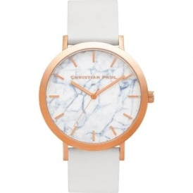 Christian Paul Watches MR-03 Whitehaven Marble Rose Gold & White Leather Watch