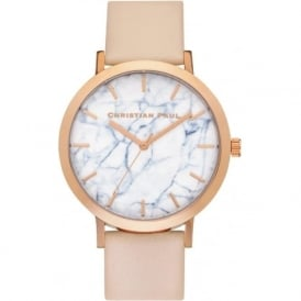 Christian Paul Watches MR-07 Bondi Marble Rose Gold & Peach Leather Watch