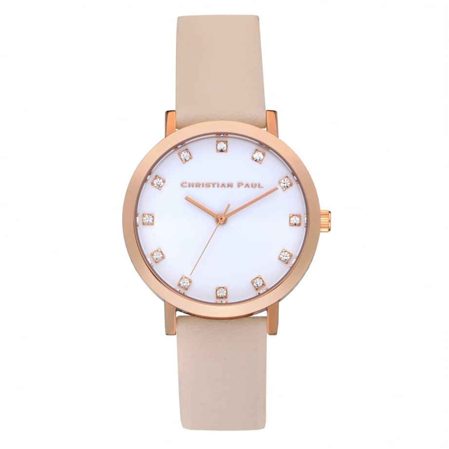 swl 02 christian paul bondi luxe 35mm rose gold and peach leather watch available at tic watches