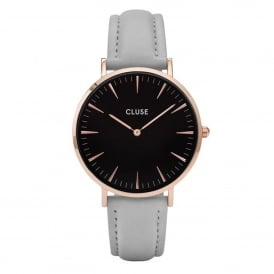 CL18018 La Bohème Rose Gold Black & Grey Leather Ladies Watch