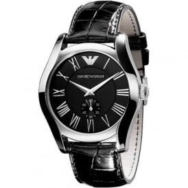 Armani Watches Classic Armani Black Leather Men's Watch AR0644