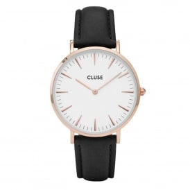 CL18008 La Bohème Rose Gold White & Black Leather Ladies Watch