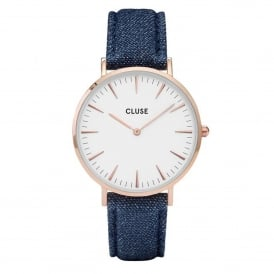 Cluse CL18025 La Bohème Rose Gold White & Blue Denim Leather Ladies Watch