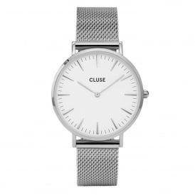 CL18105 La Bohème White & Silver Mesh Ladies Watch