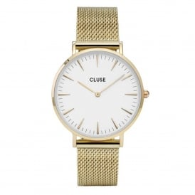CL18109 La Bohème White & Gold Mesh Ladies Watch