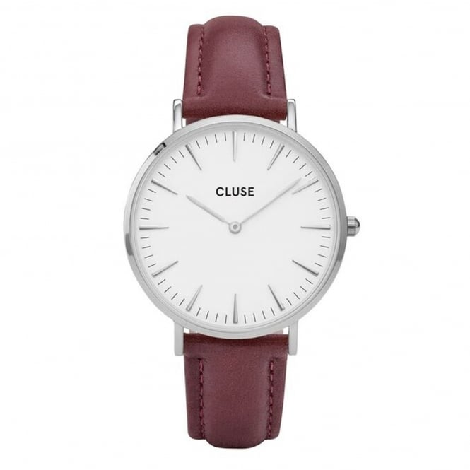 Cluse CL18217 La Bohème Silver White & Marsala Leather Ladies Watch