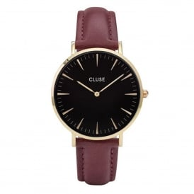 Cluse CL18412 La Bohème Gold Black & Marsala Leather Ladies Watch