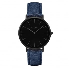 Cluse CL18507 La Bohème Full Black & Blue Denim Leather Ladies Watch