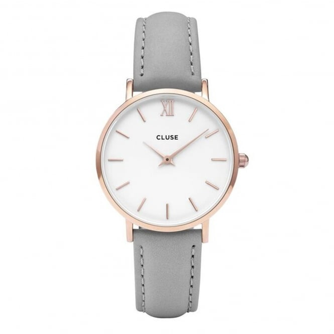 Cluse CL30002 Minuit Rose Gold White & Grey Leather Ladies Watch