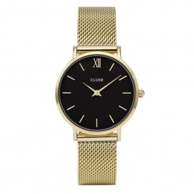CL30012 Minuit Black & Gold Mesh Ladies Watch