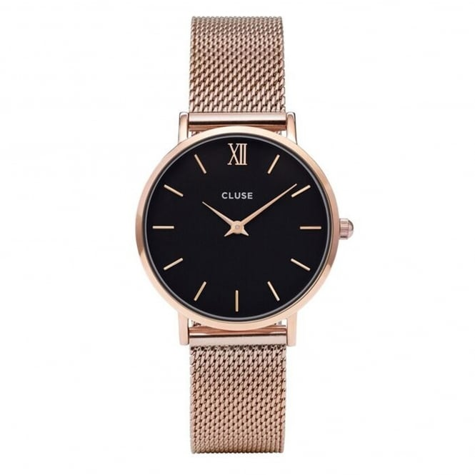 Cluse CL30016 Minuit Black & Rose Gold Mesh Ladies Watch
