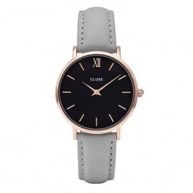 CL30018 Minuit Rose Gold Black & Grey Leather Ladies Watch