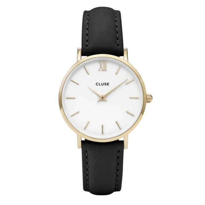 Cluse CL30019 Minuit Gold White & Black Leather Ladies Watch