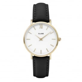 CL30019 Minuit Gold White & Black Leather Ladies Watch