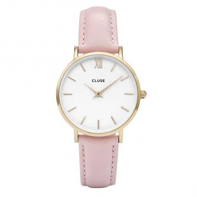 Cluse CL30020 Minuit Gold White & Pink Leather Ladies Watch