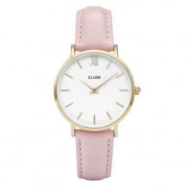 CL30020 Minuit Gold White & Pink Leather Ladies Watch