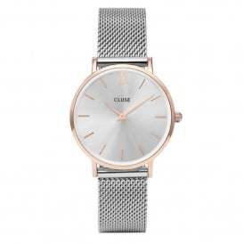 CL30025 Minuit Rose Gold & Silver Mesh Ladies Watch