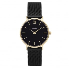 CL30026 Minuit Gold & Black Mesh Ladies Watch