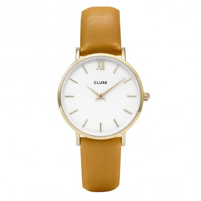 Cluse CL30034 Minuit Gold White & Mustard Leather Ladies Watch