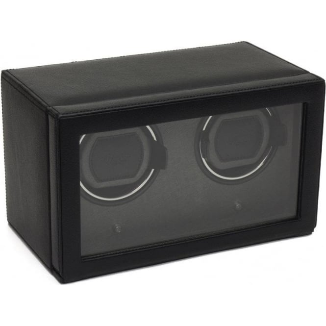 Wolf Designs Cub Black Leather Double Watch Winder with Cover