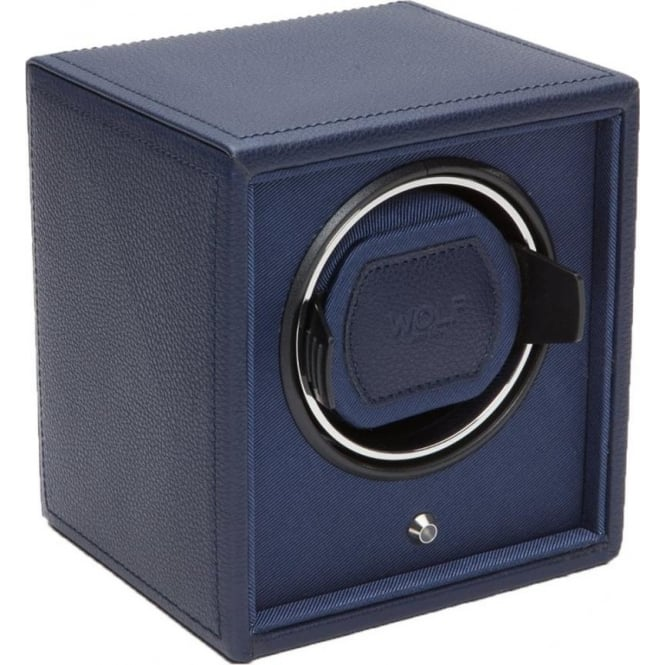 Wolf Designs Cub Navy Leather & Navy Single Watch Winder 1.8