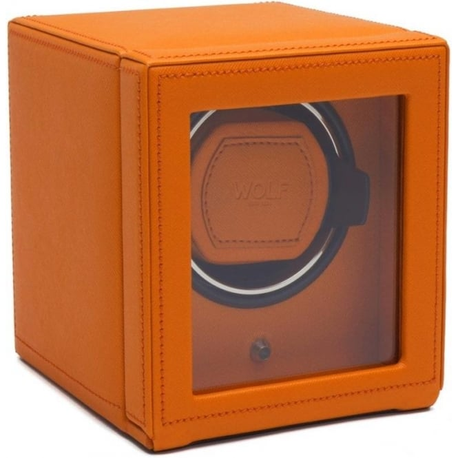 Wolf Designs Cub Orange Leather Single Watch Winder with Cover
