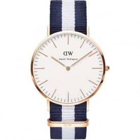 Daniel Wellington 0104DW Classic 40 Nato Glasgow Gents Blue and White Nylon Watch