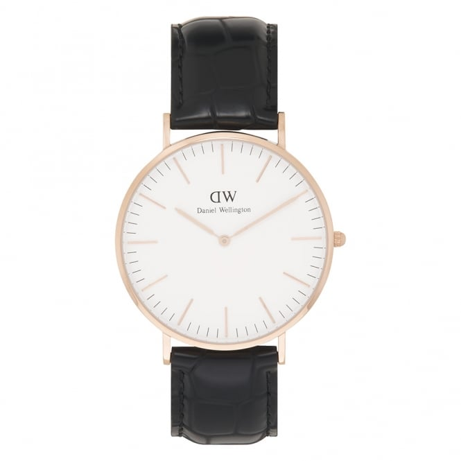 Daniel Wellington 0114DW Classic 40 Reading Gents Black Textured Leather Watch