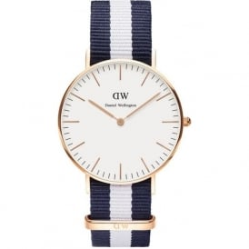 Daniel Wellington 0503DW Classic 36 Nato Glasgow Ladies Blue and White Nylon Watch