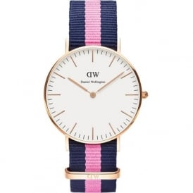 Daniel Wellington 0505DW Classic 36 Nato Winchester Ladies Blue and Pink Nylon Watch