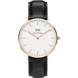 Daniel Wellington 0508DW Classic 36 Sheffield Ladies Black Leather Watch