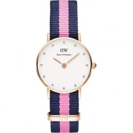 Daniel Wellington 0906DW Classy 26 Nato Winchester Ladies Blue and Pink Nylon Watch