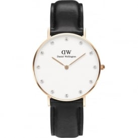 Daniel Wellington 0951DW Classy 34 Sheffield Ladies Black Leather Watch