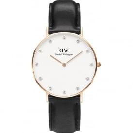 Daniel Wellington 0951DW Classy 34 Sheffield Ladies Black Leather Watch